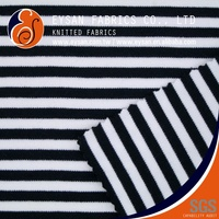 EYSAN Thick Cotton Polyester Spandex Striped Double Knit Fabric