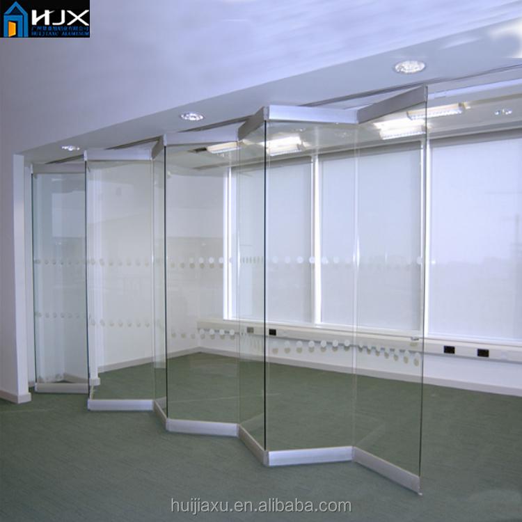 Aluminum Frameless Folding Sliding Glass Door Interior Use Glass