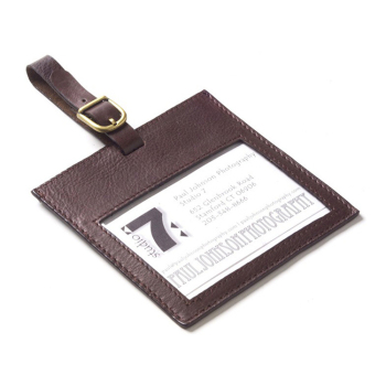 square soft genuine leather suitcase/luggage name tag