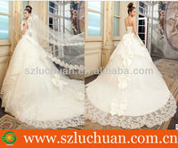 Popular Strapless Appliqued Ball Gown Wedding Dresses With Long Trains