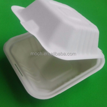 Sugarcane bagasse clamshell food container