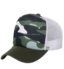 Fashion Camouflage Green White Mesh Cotton Trucker Cap Adjustable Sublimation Hats