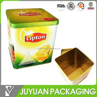 Golden tin metal Cube chinese tea packaging tin box