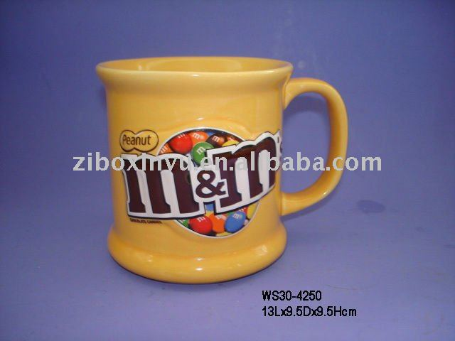 3D M&M coffee mugs with full printing for promotion,Stoneware mug