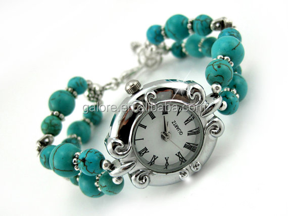 turquoise gemstone adjustable wrist beaded bracelet watch