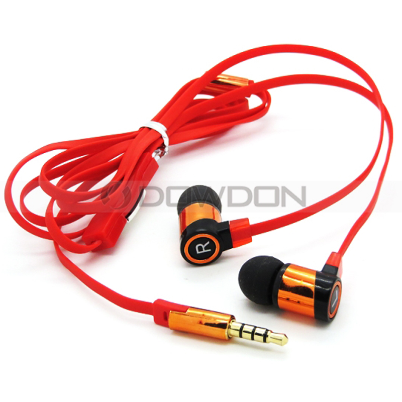 20HZ Bass Sound Aluminum Head 120CM Hifi Cell Phone Noodle Metal Earphone for iPhone