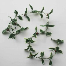 Christmas decoration holly garland 180cm garland with berry