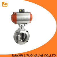 Penumatic Sanitary SS Butterfly Valves with Positioner