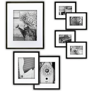 7 PCS Black Wooden Wall Gallery Picture Photo Frame Set with Decorative Art Prints & Hanging Template