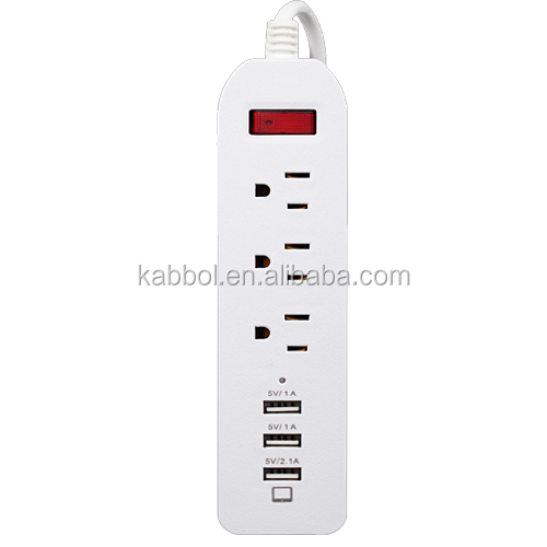 Power Strip with USB 3 AC Outlets with 3 USB USA Power Extension Sockets Surge Protector for Motorola Turbo Droid LG G4 and More
