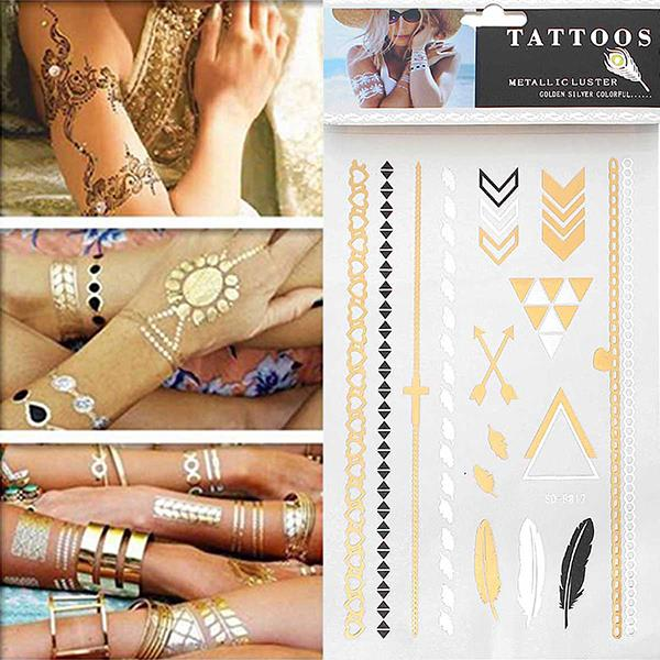 High Quality Body Art Multicolor Mixed Pattern Removable Waterproof Metallic Custom Temporary Tattoos Sticker