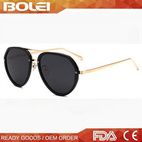 PC metal combined sunglasses mirror custom logo sunglasses 2016