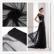 pure black wholesale chiffon fabric for party dress