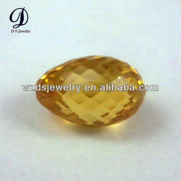 China wholesale egg shape golden yellow loose synthetic cz gems