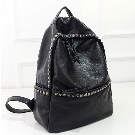 1cdc339697ce Get Quotations · 2015 Fashion Women Backpacks Rivet Black Soft Washed  Leather Bags Shoulder Schoolbags For Girls Female Outdoor