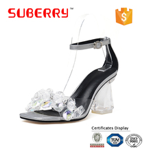 SUBERRY Thick high heel open toe transparent Glass shoes ankle buckle sandals women sandals 2017 crystal shoes