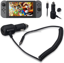 High Speed Retractable Cable Car Charger for Nintendo Switch and Phone