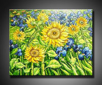 oil painting sunflowers with flowers