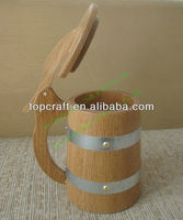 hot selling natural solid oak wood beer mug with holder and moving cover and metal rings