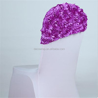2016 Luxurious Satin Embroidery Rosette Chair Cap Hood For Chiavari Chairs