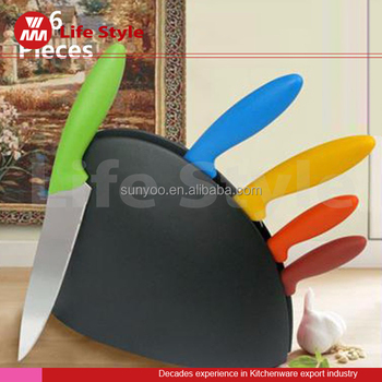 kitchen colorful staineless steel knife set with tpr handle