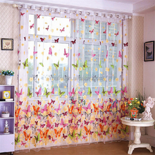 Butterfly turkish print sheer window decoration voile curtain fabric