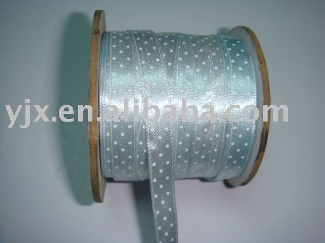 PRINTED ROUND DOT SATIN RIBBON FOR GIFT PACKAGING