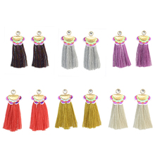 Fabric Gold Plated Flower Long Silk Thread Tassel Piercing Earrings