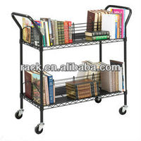 Easy Assemble 2 tiers Metal Book Display Trolley , NSF Approval