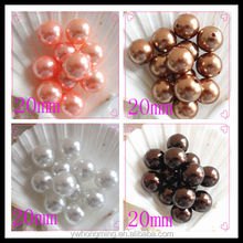 Many colors colorful decorative plastic pearl beads 20mm bronze loose acrylic beads