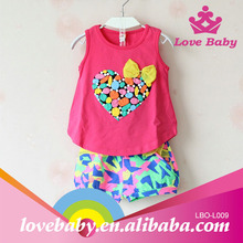 Hottest fashion cute heart rainbow color with legging baby christening outfits