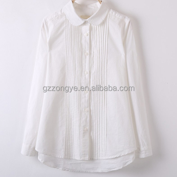 high quality OEM service fashionable elegant long sleeve women white chiffon shirt