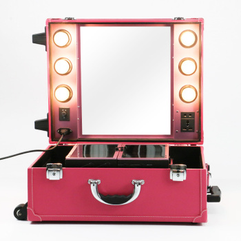 professional rolling trolly PVC leather panel with lighta portable beauty cosmetic makeup case