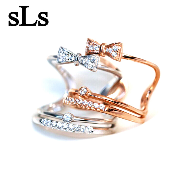 2018 Fashion sterling 925 silver ring south Korean jewelries double sweet bow knot set open ended rings for female