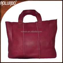 New design wholesale fashion top layer leather lady pink tote bags