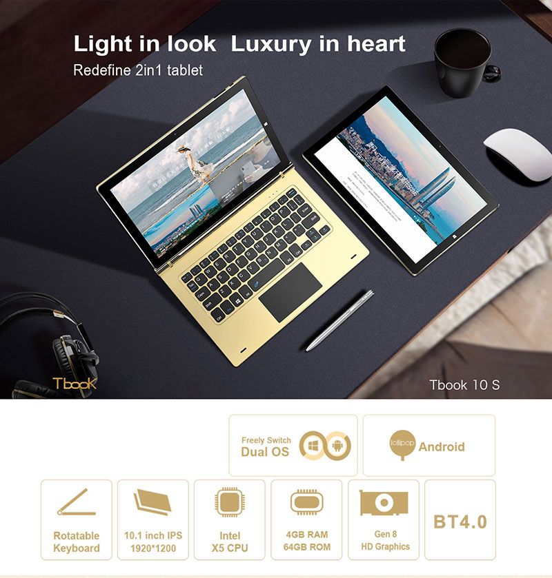 HOT!!!Teclast Tbook 10s 10.1 inch Notebook and Tablet PC 2 in 1 Win 10 Plus Android 5.1 Cherry Trail x5-Z83 4GBRAM+64GBROM
