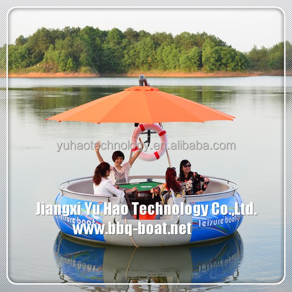 Hot selling donut Aqua Boat with bbq grill for sale
