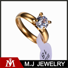 24K Gold Plated Bride Wedding Crystal Stainless Steel Ring