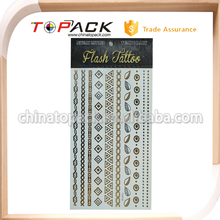 Free sample gold metallic Eco-friendly temporary tattoo sticker