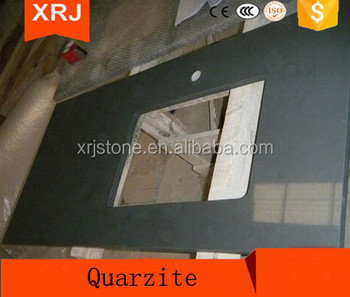 SGS Approved black quartz countertop and vanity top,quartz crystal counter top for sale