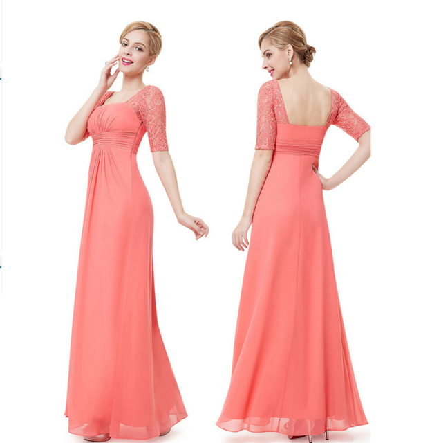 woman's half sleeve chiffon long dress bridesmaid dress 2018