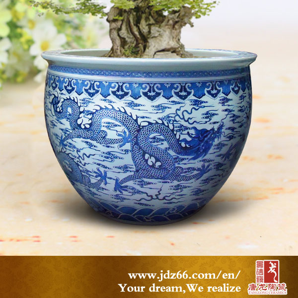 Chinese Dragon Design Ceramic Blue and White Flower Pot