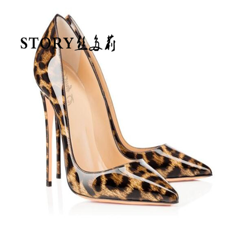 Fashion classic sexy women ladies animal leopard print leather pointed toe shoes stiletto pumps thin high heels