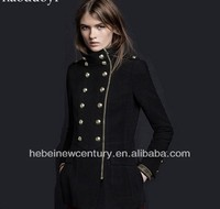 2015 Women Velveteen Golden Double-Breasted Long Military Uniform Coat
