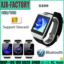 Top 3 factory!Brand new dz09 smart watch manual with Camera for Iphone and Android Smartphones