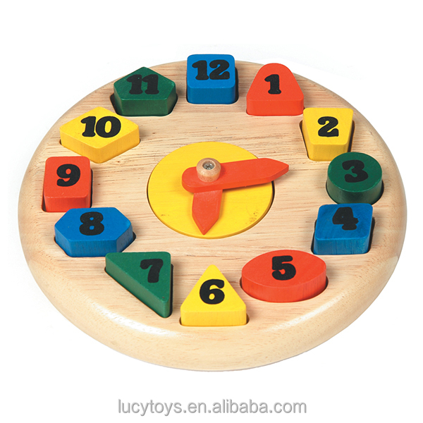 Kids Numder And Time Learning Wooden Clock Toy
