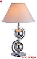 hot design S shape lamp table with two metal chrome ball for decoration