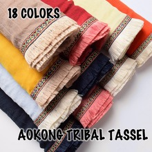 Hot sale ladies plain tribal tassel hijab scarf