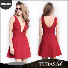 Alibaba Modern Design Red Deep V Prom Party Dress
