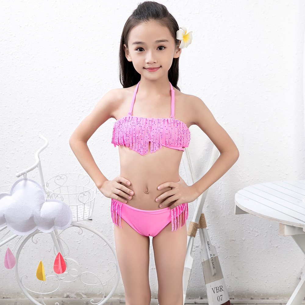European and American size wholesale hot sale beautiful yong girl bikini set sexy tassel swimsuit girls